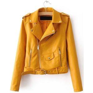 Shein Faux Leather Buckle Belt Moto Jacket